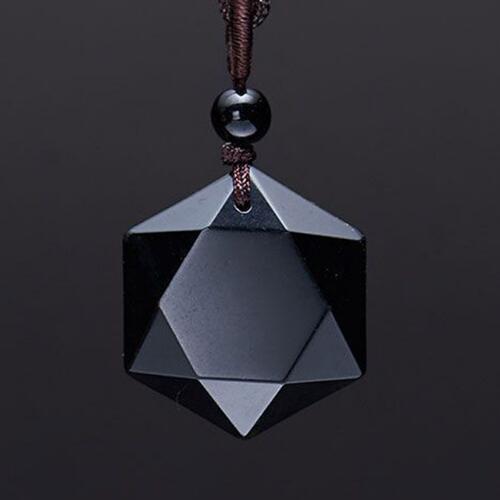 Männer Naturstein Geschnitzten Schwarzen Obsidian Anhänger Halskette Mit Freien Seil