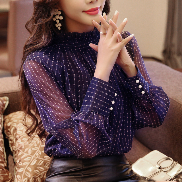 new arrived 2018 spring blouse women long sleeved shirt female fashion loose blouse office lady clothing D468 30 2