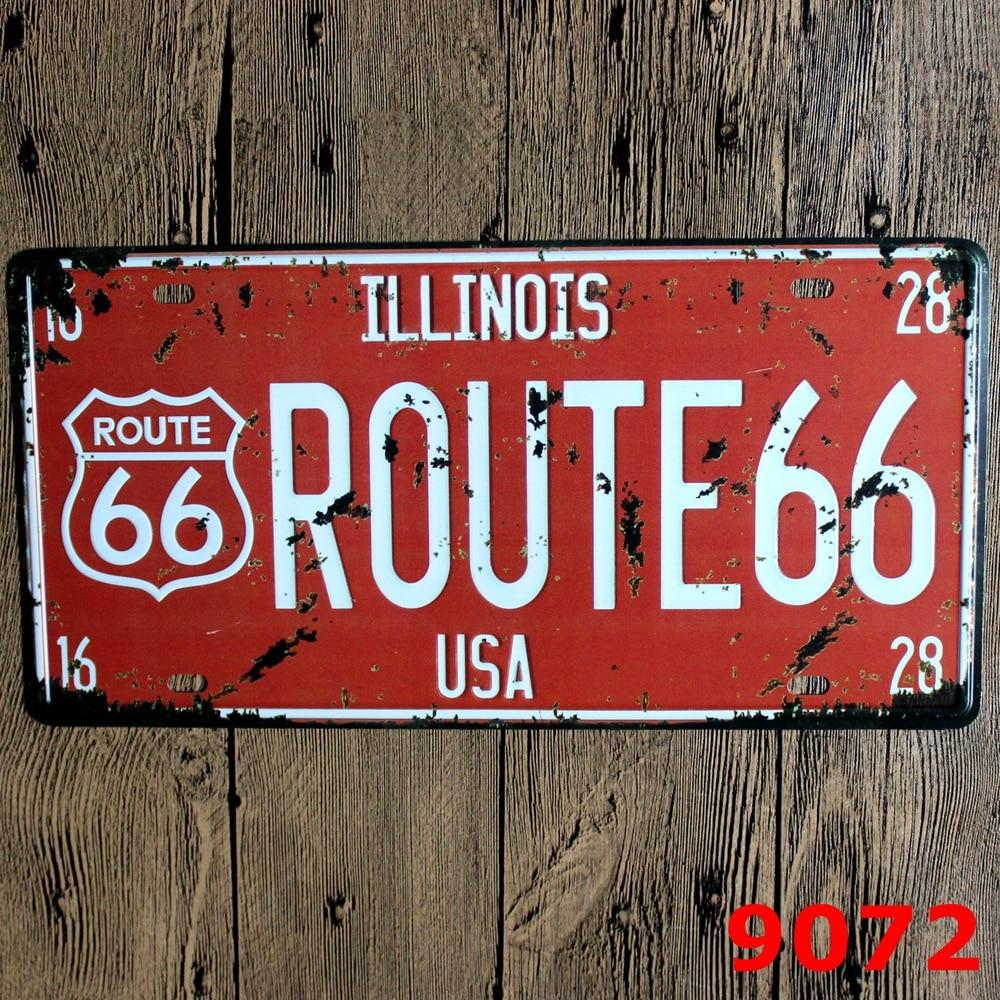 15x30 cm vintage license plates USA america ILLINOIS Route 66 retro ...
