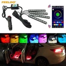 Feeldo 4 шт./компл. автомобиль blutooth приложение интеллектуальные Управление декоративные светодиодные атмосфера неоновый свет rgb салона ног свет