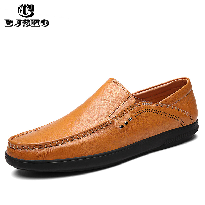 CBJSHO Mens Shoes Casual Brands Genuine Leather Men Loafers Luxury Moccasins Comfy Breathable Slip On Boat Shoes Men New