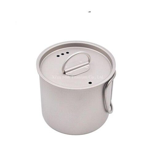 Titane pur 350 ml 400 ml 600 ml 750 ml tasse de poignée pliante avec couvercle tasse à café légère de thé Portable sain chauffable pour l'extérieur