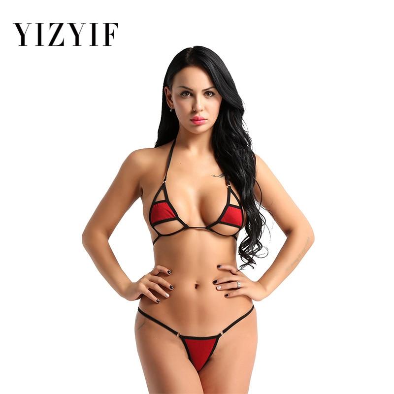 2Pcs Mini Micro bikini tanga micro swimsuit 2019 Women Halter Neck string Bikini Set Bra Top with g-string Thong Sexy bikini Set