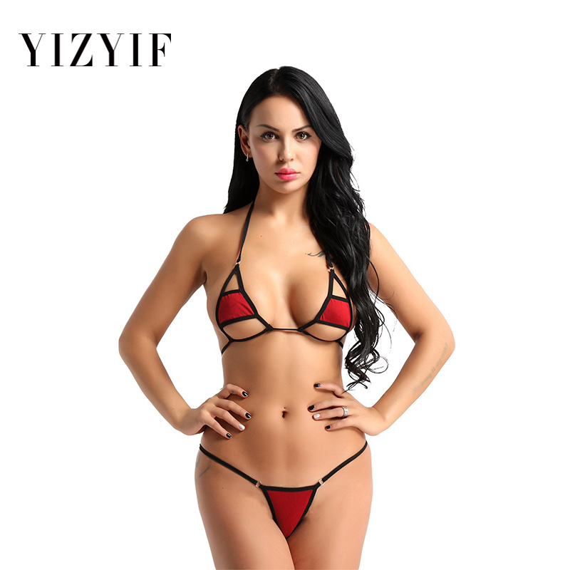 2Pcs Mini Micro <font><b>bikini</b></font> tanga micro swimsuit 2019 Women Halter <font><b>Neck</b></font> string <font><b>Bikini</b></font> Set Bra Top with g-string Thong <font><b>Sexy</b></font> <font><b>bikini</b></font> Set image