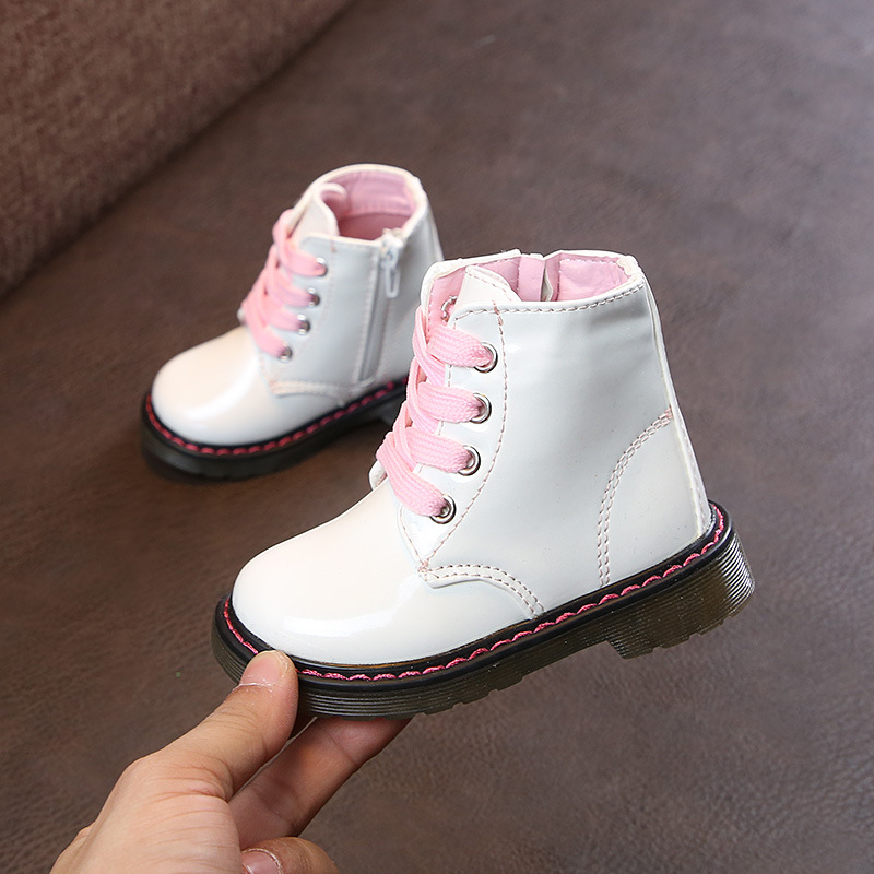AFDSWG Spring And Autumn White Girl Booties Low With Girls Boots Wine Red Children's School Shoes, Leather Boots Martens