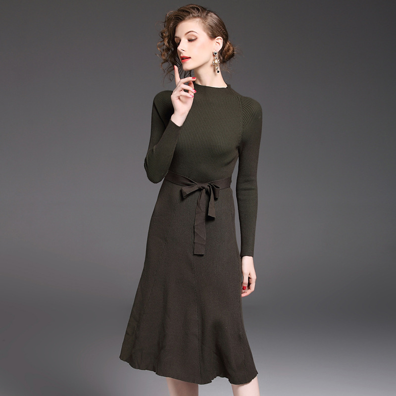 HMCHIME 2017 Autumn women high elastic knitted dress fashion sexy patchwork round collar long sleeve woman sweater dress HM703 hmchime 2017 autumn women high elastic knitted dress fashion sexy patchwork round collar long sleeve woman sweater dress hm703