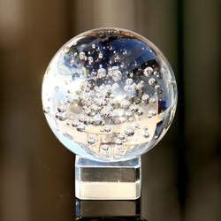 60mm Runde Blase Rare Klar Glas Künstliche Crystal Healing Ball mit Basis Kugel Dekoration Chinesischen Stil Feng shui Decor