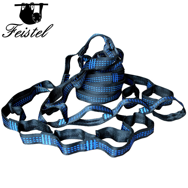 2 Pcs Camping Hammock  Straps Suspension System Extension Loop Webbing    Can Be Used As Garden Swing Camping