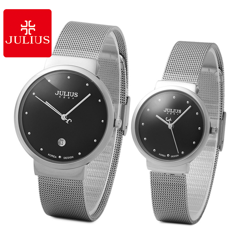 49902777f8a Luxo Ouro Prata Relógio de Aço Inoxidável dos Amantes Quentes Ultra Fino  Boa Qualidade Calendário Moda Casual Relógios de Quartzo Julius 426