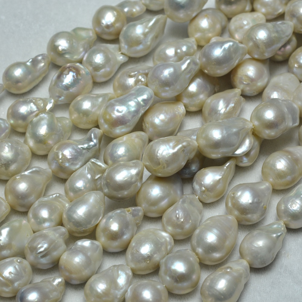 Wholesale13-14mm Round White Freshwater Baroque Pearls Beads Full Strand For Jewelry Making все цены
