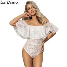Off-The-Shoulder Sexy Teddy Lingerie Transparent Plus Size Ruffle Bodysuit Women Female Body Suit