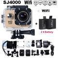 "2xBattery 1080P 1.5"" LCD 12MP 170 Degree Wide Angle Sport Action Camera SJ4000 WIFI DV 30M Diving Waterproof DVR Video Camcer"