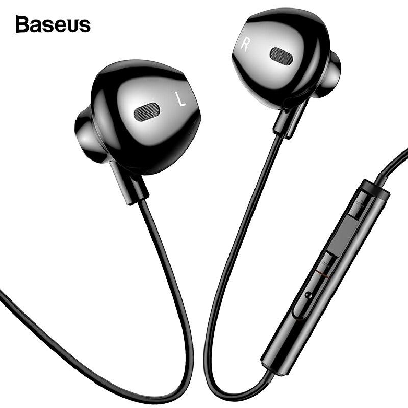 Baseus cable auricular en la oreja los auriculares con micrófono estéreo bajo sonido Jack de 3,5mm de Auriculares auriculares auricular para iPhone Samsung xiaomi