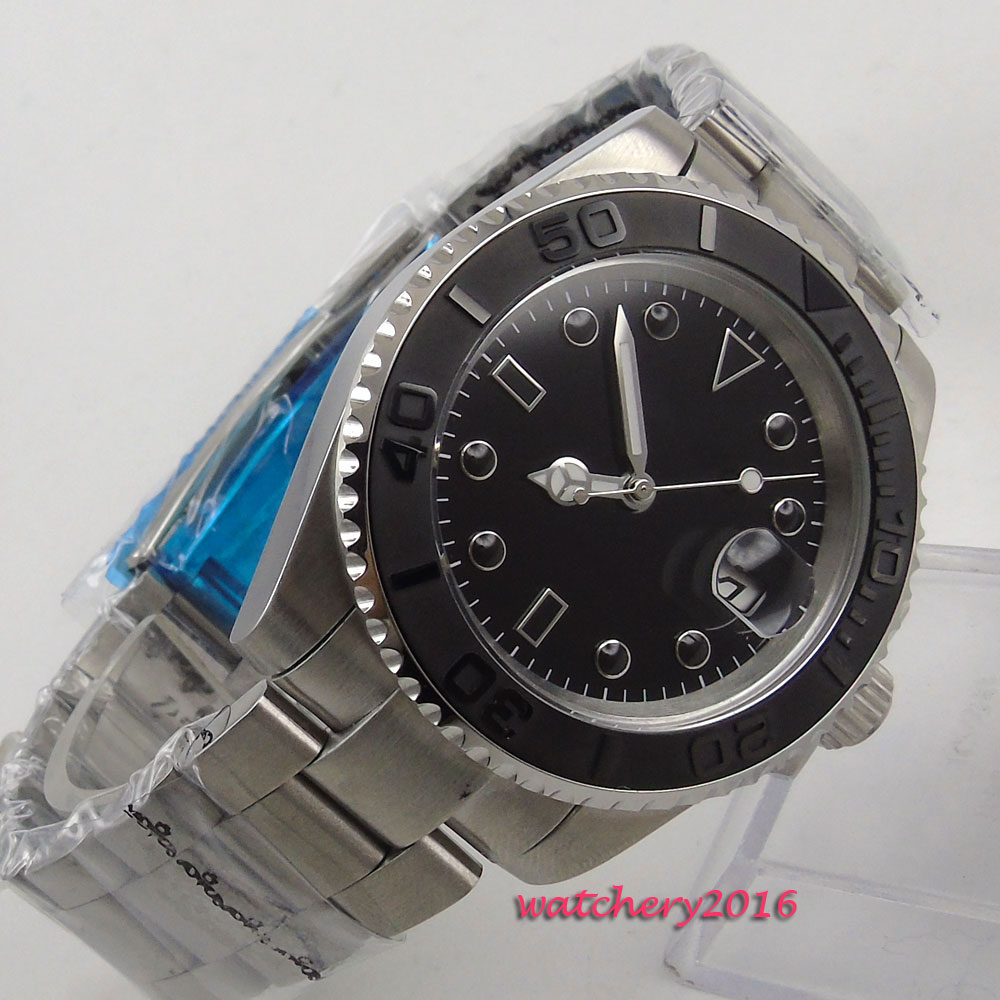 43mm Bliger Black Dial No Logo Date window 2018 New Sapphire Glass ceramic bezel Luminous Hands Automatic Mechanical men's Watch цена и фото