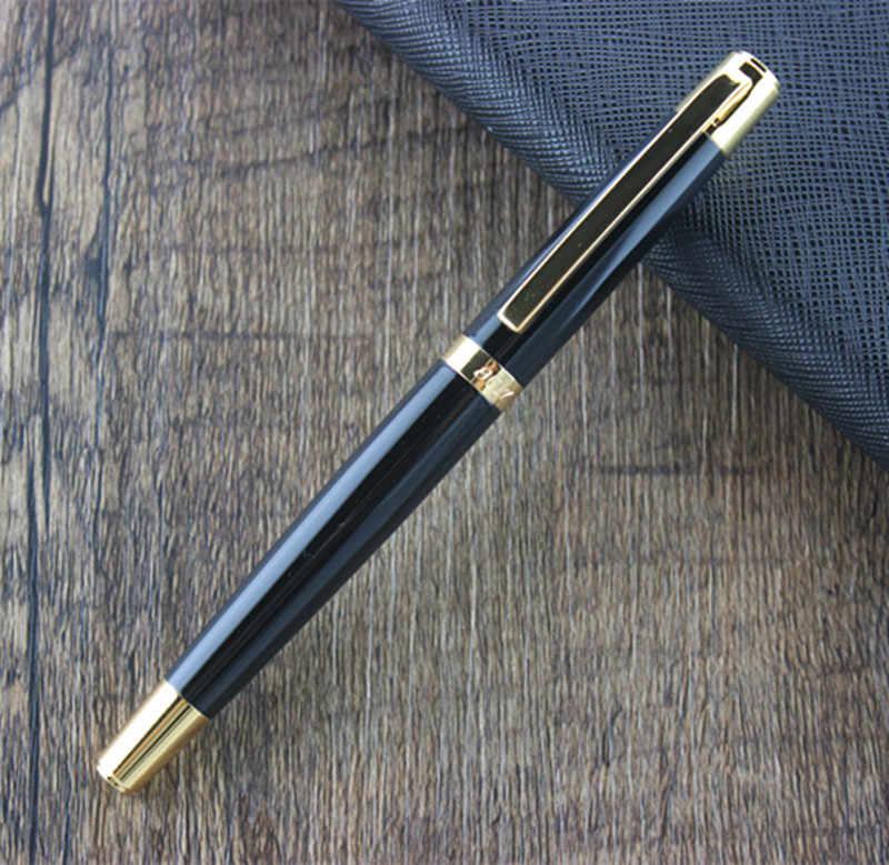DIKA WEN 8017 Hitam dan Emas Clip Fountain Pen dengan 0.5mm Pena Mewah Hadiah Logam Pena untuk Menulis Tinta pena Gratis pengiriman
