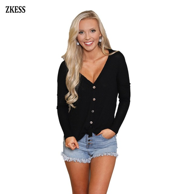 6fdf8d9489a Zkess Women Fashion Casual Black Waffle Knit Button Front Blouse Shirts Sexy  V Neck Full Sleeve