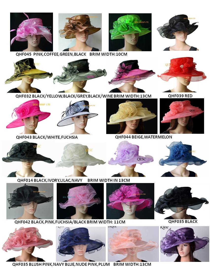 Wholesale Elegant FREE SHIPPING wide brim bridal wedding women s hat dress Organza Hats Church sinamay