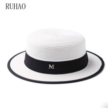 RUHAO Summer straw hat casual sunscreen beach hat M standard fashion women's hat
