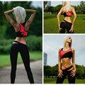 New Women Yoga 2 Piece Set Sports Bra Tops + Skinny Long Pants Fitness Slim Tracksuit Gym Running Suit B2C Shop