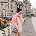 Novo clássico das mulheres de malha de cashmere vison camisola Angorá engrossado gola Pullover casaco frete grátis JN285