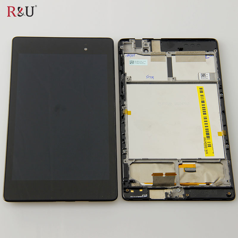 R&U LCD display + Touch screen panel Digitizer assembly + frame for ASUS Google Nexus 7 2nd Gen 2013 ME571 ME571KL 3G version black case for lg google nexus 5 d820 d821 lcd display touch screen with digitizer replacement free shipping