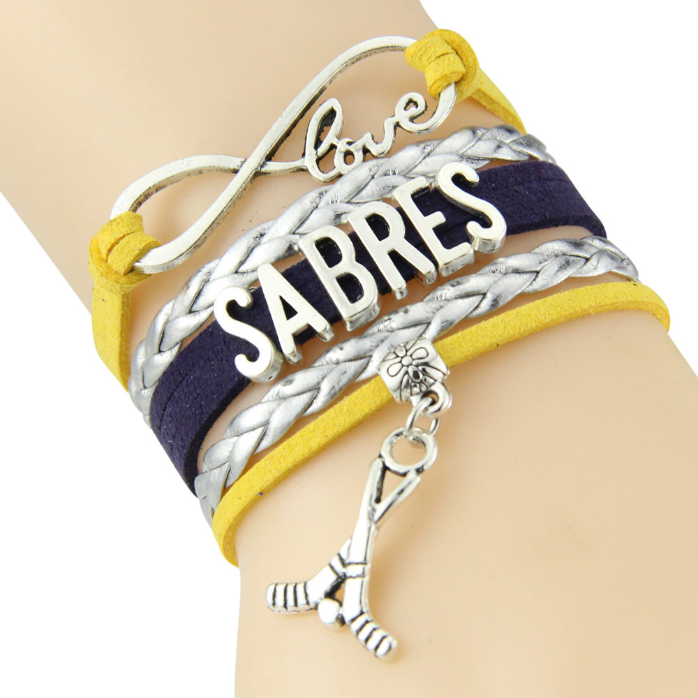 Chain Bracelet Infinite Love SABRES Yellow Silver Black Cord Golf Dropshipping