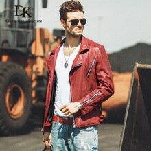 Dusen Klein Men Genuine Leather Jacket Autumn Outerwear red wine/Black/Slim/Simple Business Style Sheepskin Coat 16S1307