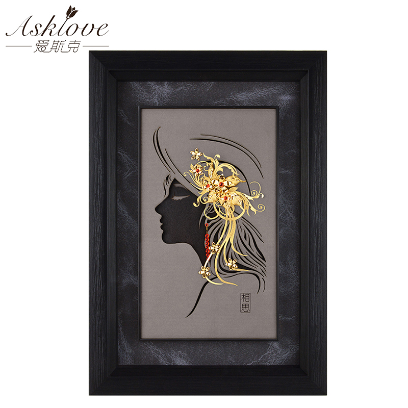 Asklove Gold Art lady painting poster 24K Gold foil 3d painting Wall art picture Wedding Gifts Modern Decorative wall picturesAsklove Gold Art lady painting poster 24K Gold foil 3d painting Wall art picture Wedding Gifts Modern Decorative wall pictures