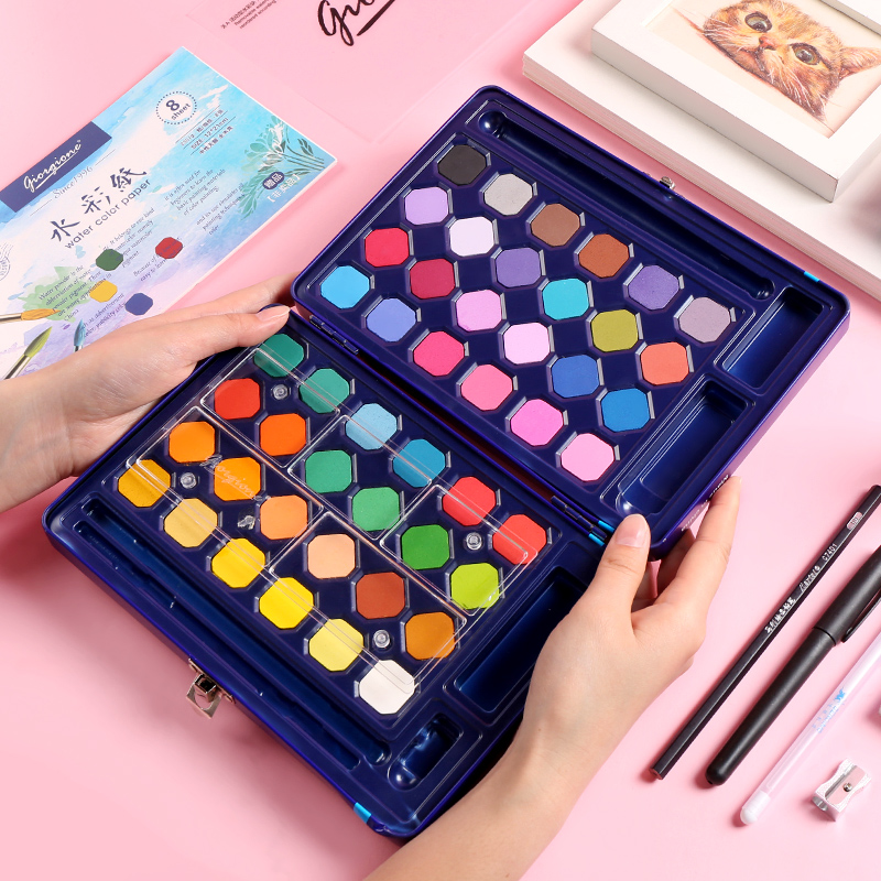 24/36/48 Color Solid Watercolor Paint Set Hand-painted Beginners Art Students With Watercolor Paint Art Supplies
