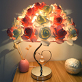 Настольная лампа с розовым цветком для гостиной  спальни  свадебного декора  настольная лампа с красным розовым цветком