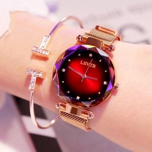 Image 2 - 2019 luksusowe różowe złote zegarki kobiety bransoletka moda diamentowa sukienka damska Starry Sky magnetyczny zegarek kwarcowy relogio feminino