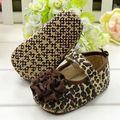 Moda 1 Par Lindo Zapatos del Pesebre Prewalkers Primeros Caminante Del Leopardo de Brown Zapatos de La Flor