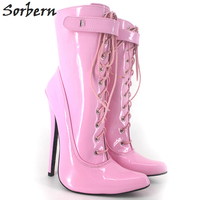 Sorbern Unisex Ankle Boots For Women Plus Size High Thin Heels 18CM Pointed Toe Boots Women