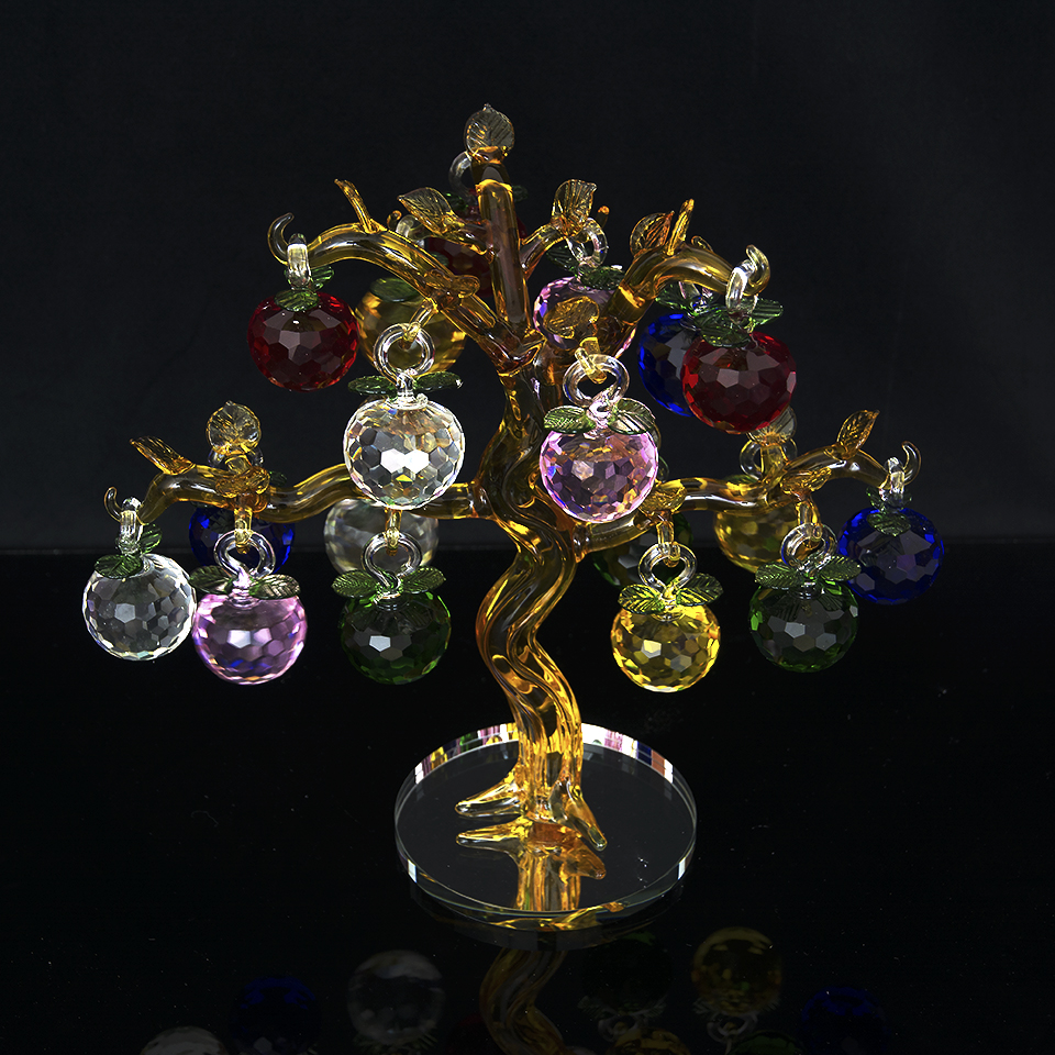 The Latest  Crystal Apple Tree with 18 Apples Fengshui Crafts for Home Decor Figurines Christmas New Year Gifts