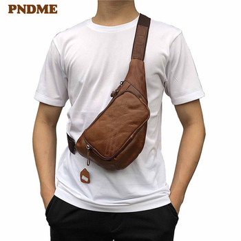 PNDME vintage casual simple outdoor daily soft genuine leather natural cowhide mens chest bag light sport small messenger bags