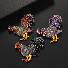 Lucky Zodiac Animal Rooster Brooch Pin Rhinestone Enamel Animal Brooches Broches Crystal Cock Jewelry Pins Cute Gift