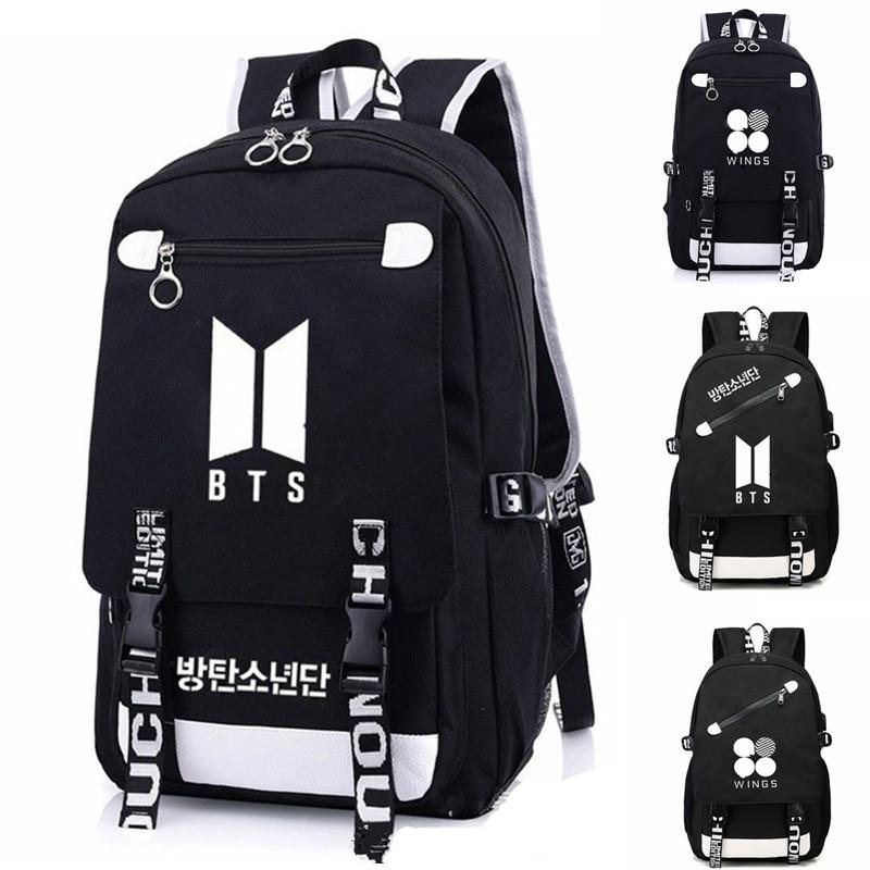 2018 New KPOP POP Bangtan Boys Backpack Backpack Bag School Book Zipper Bags Laptop Backpack Boy Girls JIMIN JUNGKOOK Gift