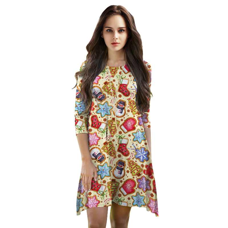 Holiday party christmas fancy dress christmas print dress in dresses