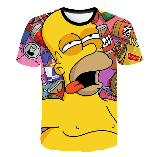 Simpson Snoopy and other animation printing T-shirts with round collar and short sleeves in summer
