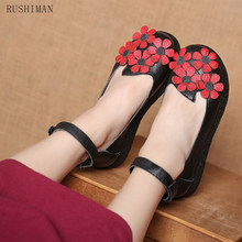 RUSHIMAN Ballet Spring Summer Women Genuine Leather black Shoes Woman Flat Flexible Round Toe mom Casual Fashion Loafer se 35-40(China)