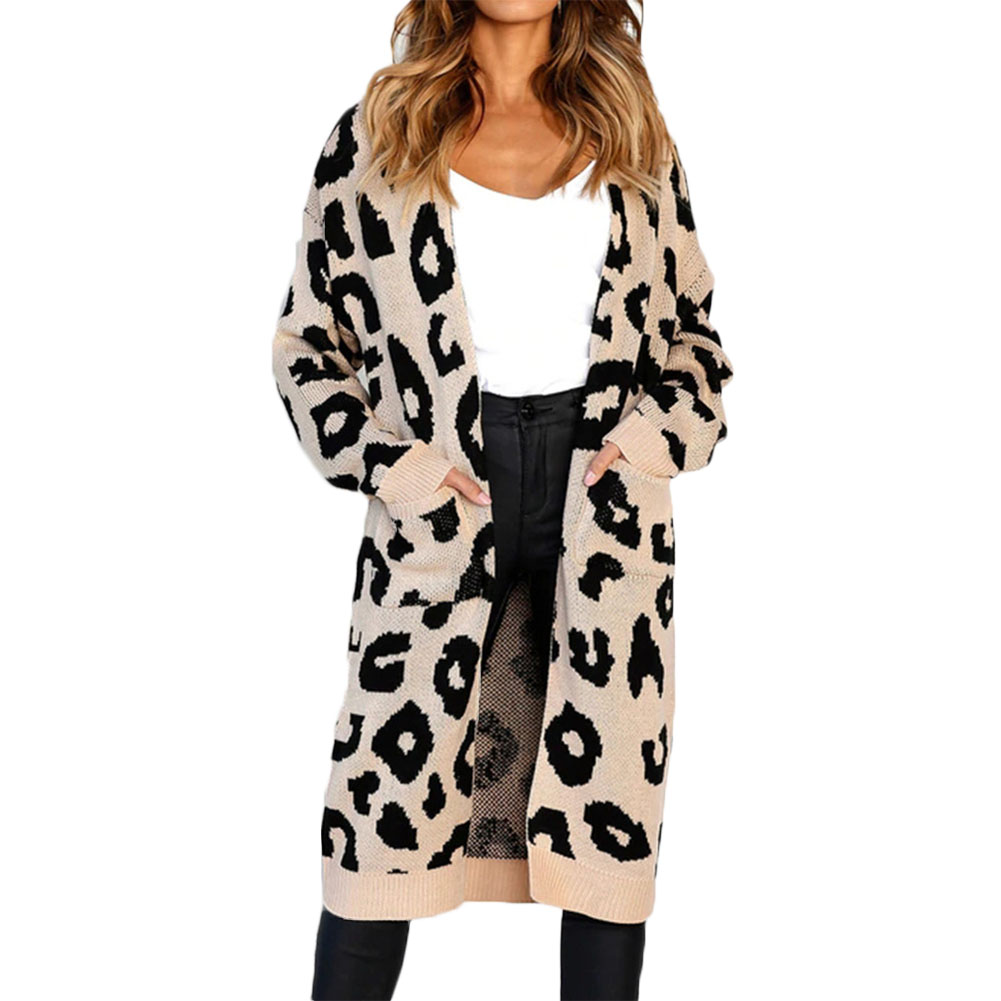 Hot Sale Ladies Long Knitted Cardigan Loose Casual Hooded Leopard Jacket Coat Boho Knitted Sweater Jumper 2018 Autumn Winter