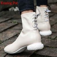krazing pot new genuine leather women winter square toe strange design low heels Korean fashion elegant charming ankle boots L01