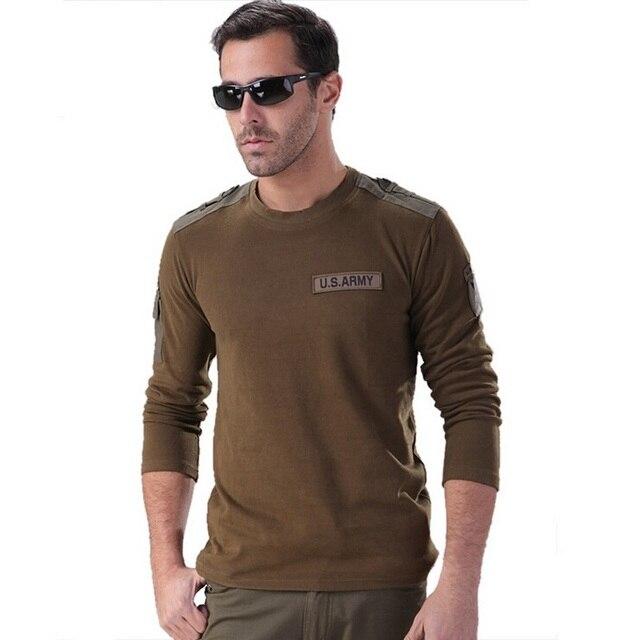 da87a9f6 Men Leisure US Army Long Sleeve T-Shirt Men Tactical T Shirt Cotton Army  Combat T Shirt M-XXXL