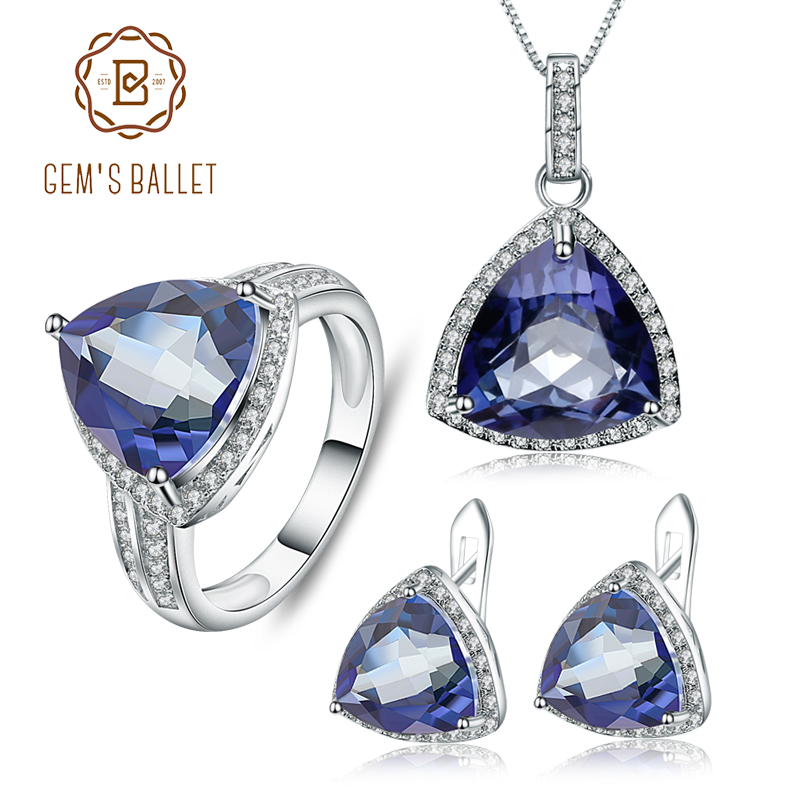 GEM S BALLET Iolite Blue Mystic Quartz Jewelry Set Solid 925 Sterling Silver Earrings Ring Pendant