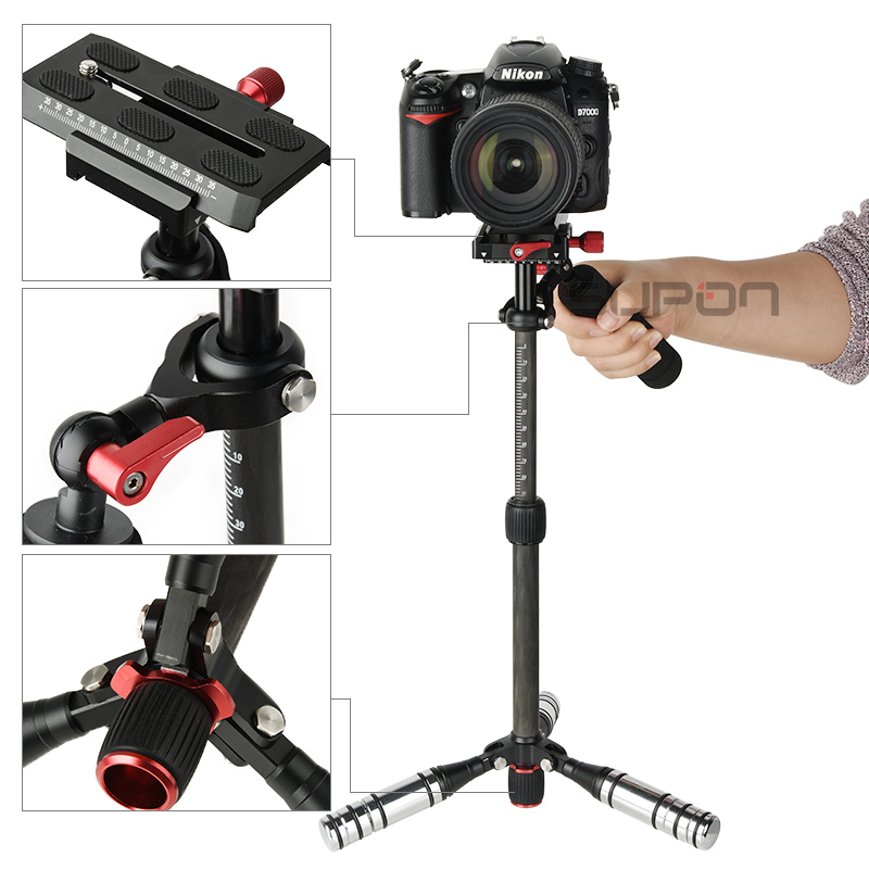 SUPON 43 cm/16.9 inches Carbon Fiber Gimbal Handheld Stabilizer with Quick Release Plate for DSLR Cameras , MILC & GoPro the ptz handheld unit carbon fiber for align g3 gh g3 5d aerial triaxial gimbal