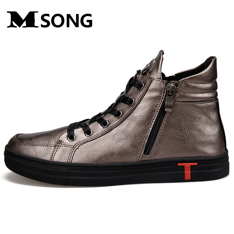MSONG New Fashion High Top Casual Shoes For Men PU Leather Lace Up Red White Black Color Mens Casual Shoes Men High Top Shoes  цены онлайн