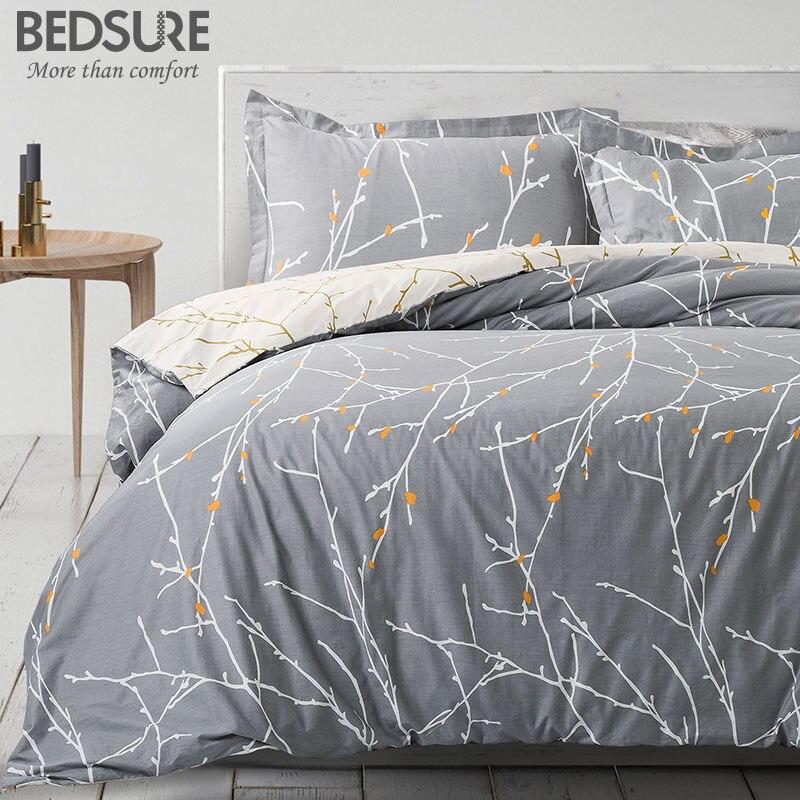 Bedsure 100/% Cotton Luxury Duvet Cover Sets Bed Linens Set Queen King Size 3pcs