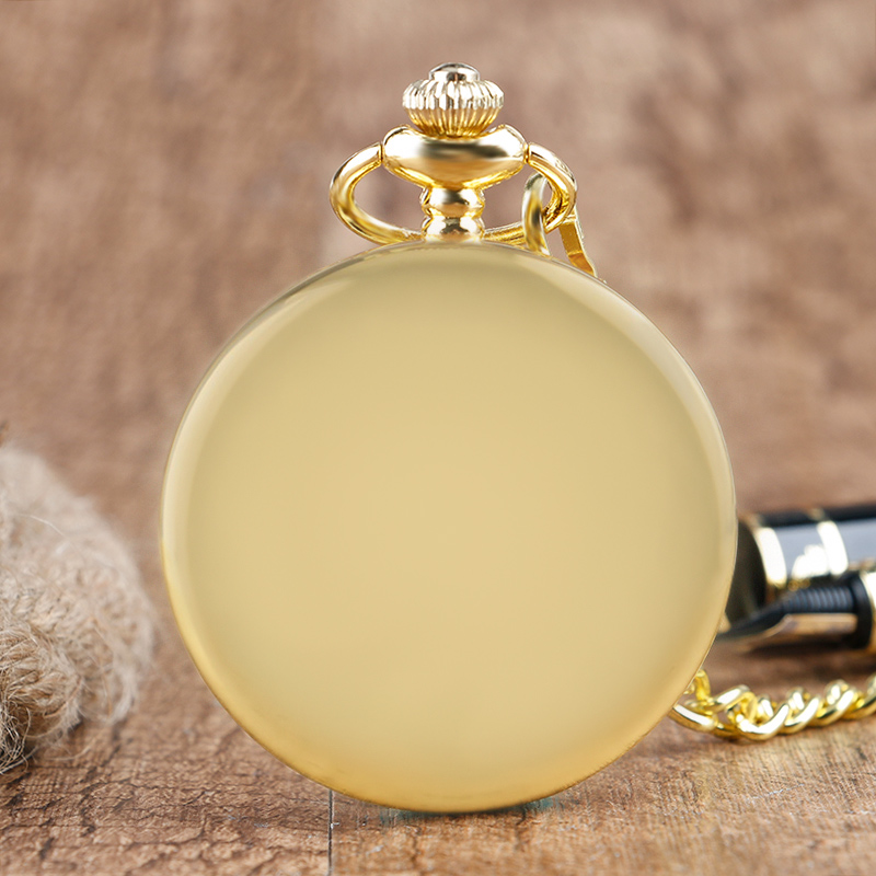 Retro Casual Men Pocket Quartz Watch Gold Smooth Stainless Steel White Dail FOB Watches With Golden Necklace Chain Best Gift