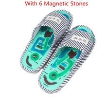 купить Hot Sale Foot Massage Slippers Canvas Stripe Magnet Reflexology Acupuncture Point Non-Slip Slippers for Mens&Womens Indoor онлайн