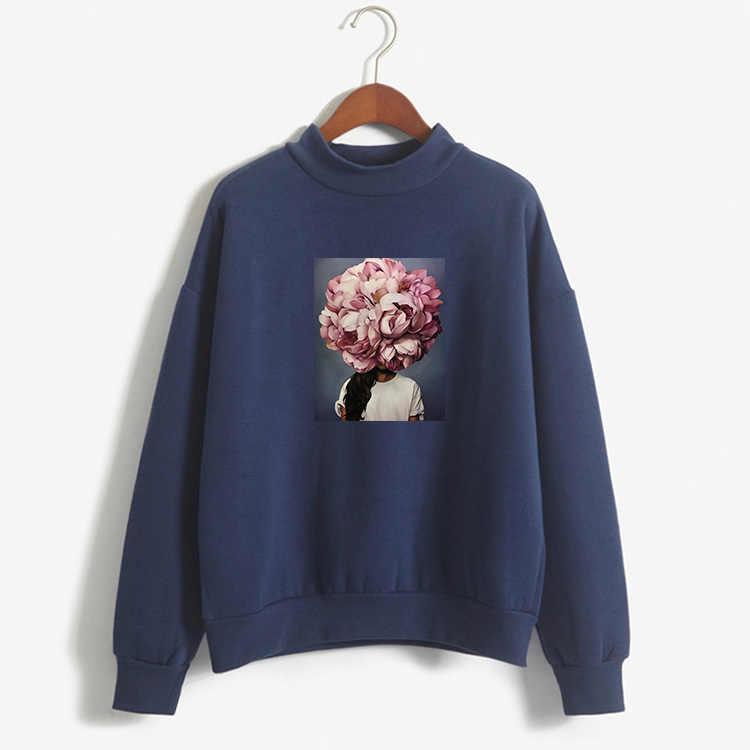 2019 הטוב ביותר הדפסה ורוד נשים של סווטשירט לא כובע הדפסת אופי מזדמן בסוודרים חמוד קצר מעיל ארוך שרוול O-צוואר חולצה